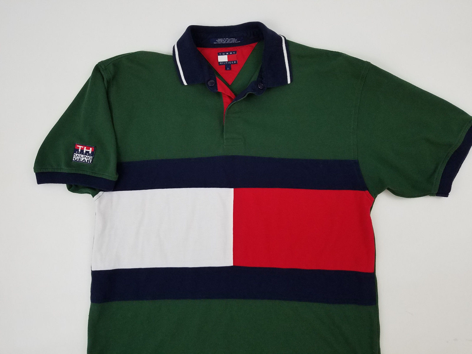 067404199 Tommy Hilfiger Sailing Gear Big Flag Spellout Polo Rugby Shirt Vintage 90s  - Ninety One Vintage