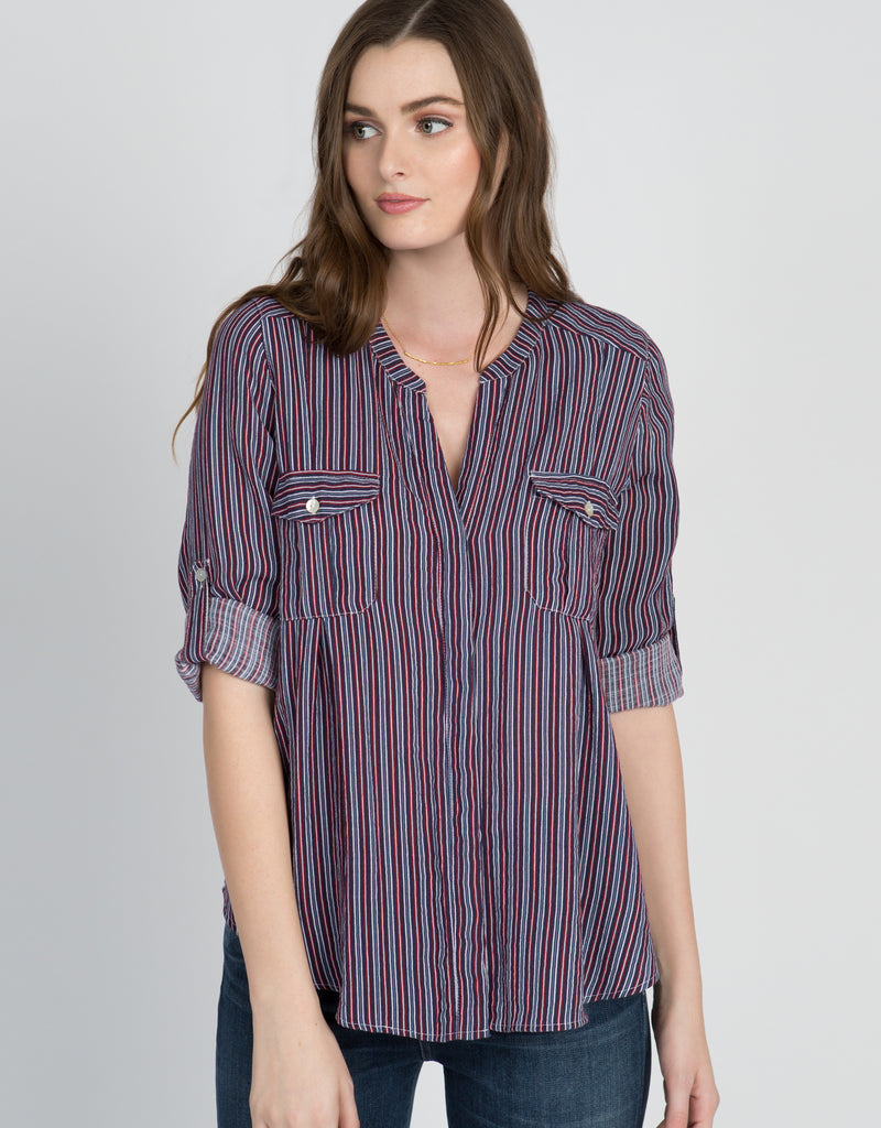 Striped Two Pocket Button Down - 4our Dreamers