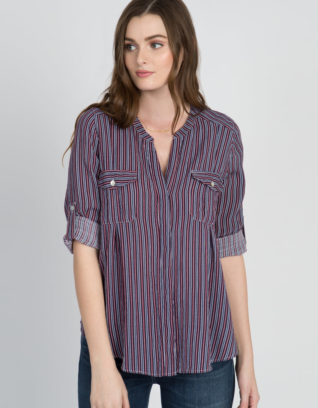 women's striped button down shirt