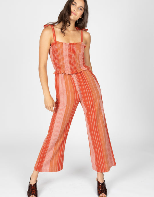 Smocked Stripe Jumpsuit