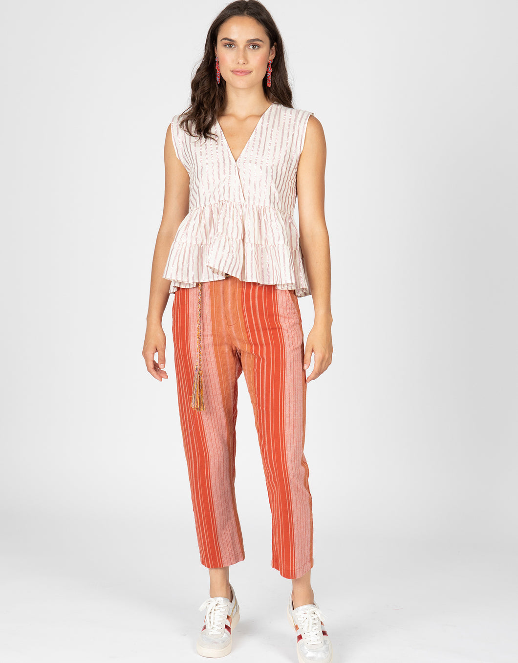 Stripe Trouser With Braided Belt