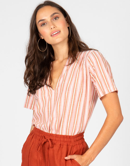 Short Sleeve Stripe Top | Pink