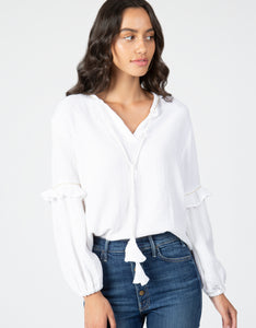white gauze long sleeve top