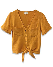 Gauze Tie Front Top | Mustard - 4our Dreamers