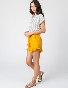 Gauze Drawstring Short | Mustard - 4our Dreamers