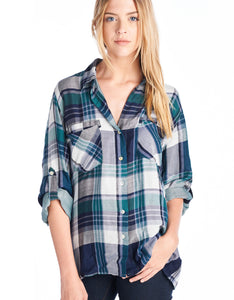 Button Down Plaid | Navy + Green