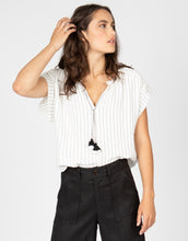 Short Sleeve Stripe Tassel Top | Taupe + Black