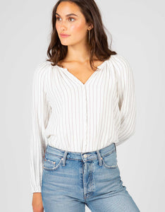 Long Sleeve Striped Peasant Top | Black + White