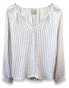 Long Sleeve Striped Peasant Top | Off-White + White