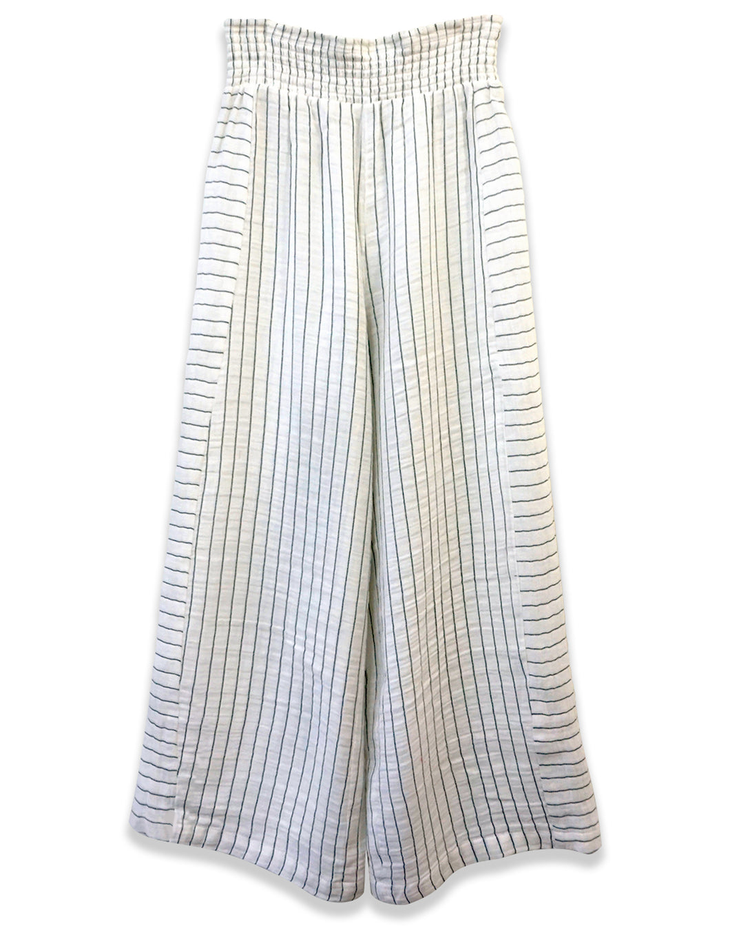 Striped Ruched Waist Crop Pant | Black + White