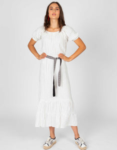 Striped Belted Midi Dress | White + Black