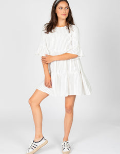 Striped Tiered Dress | White + Black