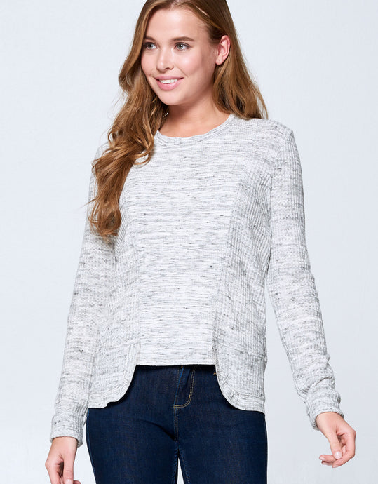 Waffle Knit Top | Heather Grey - 4OUR Dreamers