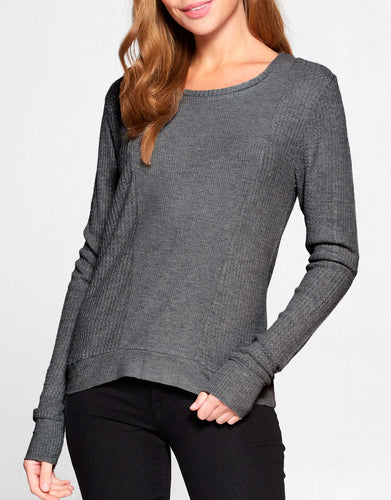 Waffle Knit Long Sleeve Top | Charcoal