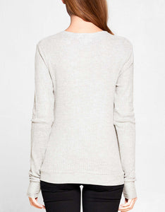 Waffle Knit Long Sleeve Top | Oatmeal