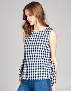 gingham navy top