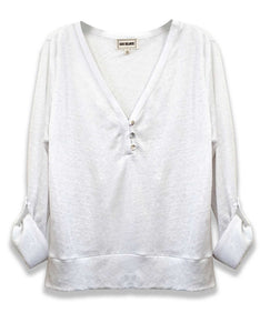 V-neck Linen Blouse | White | FINAL SALE