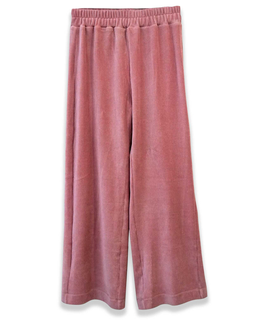 Ribbed Velour Wide Leg Pant | Pink