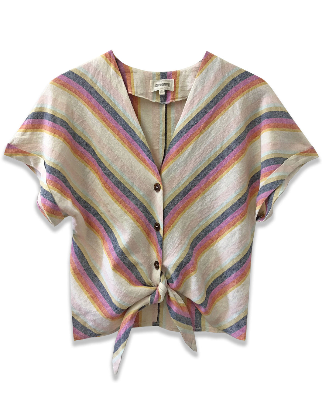 Stripe Tie Front Top - 4our Dreamers