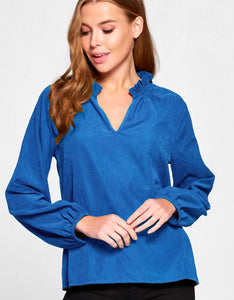 Cupro Ruffle Neck Top | INDIGO