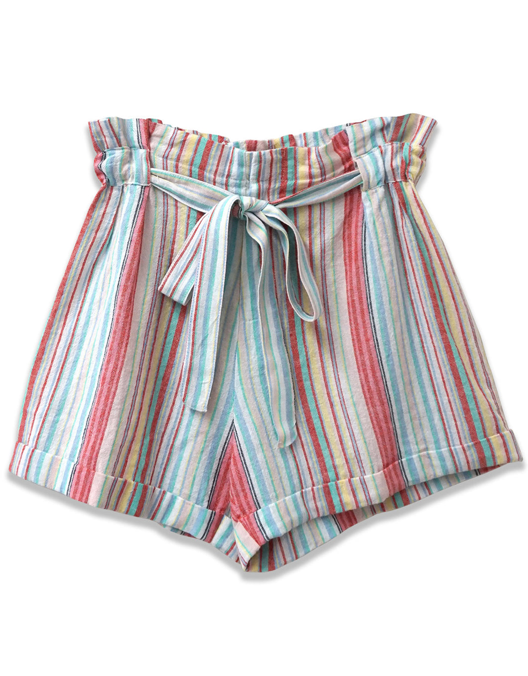 Paperbag Waist Striped Short | Turquoise Combo - 4our Dreamers