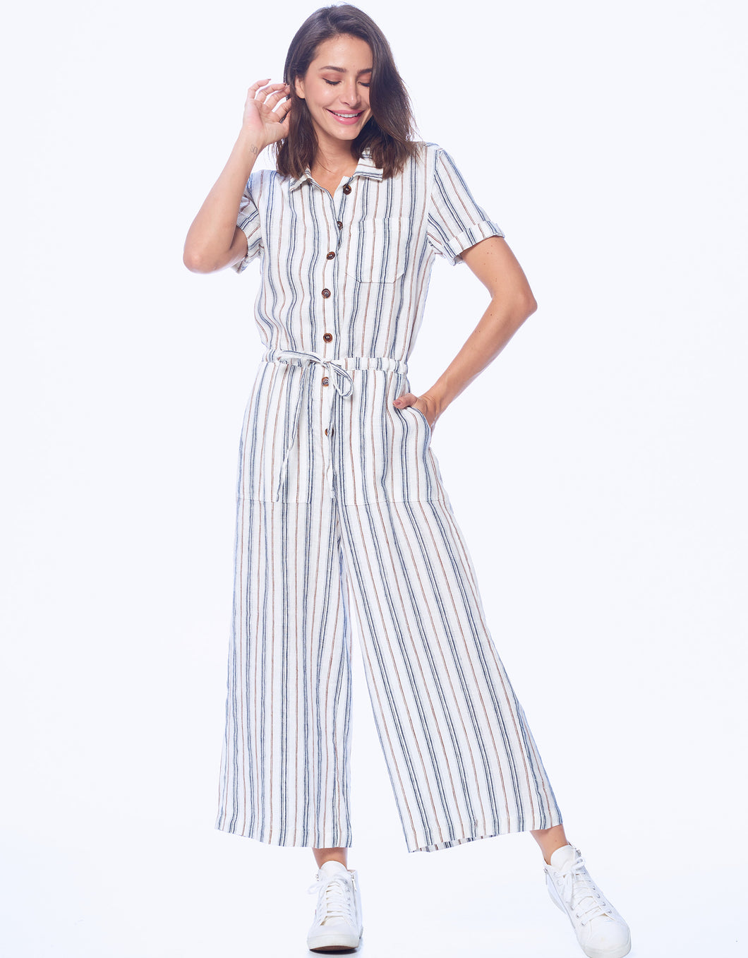 Stripe Short Sleeve Crop Jumpsuit