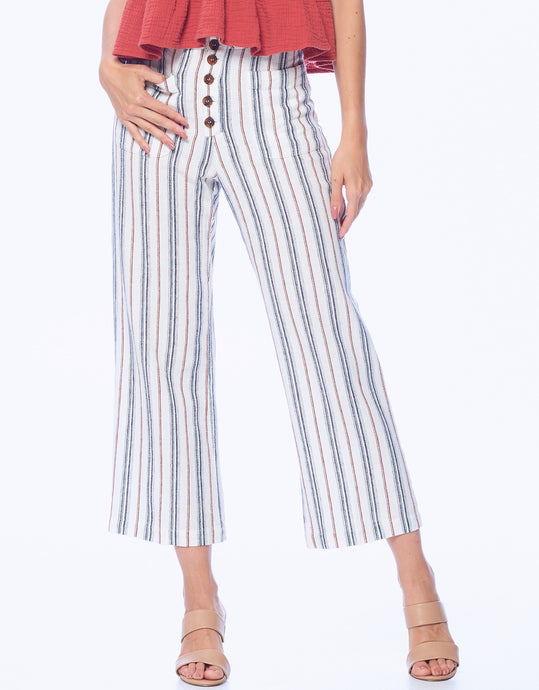 High Waisted Striped Crop Pant