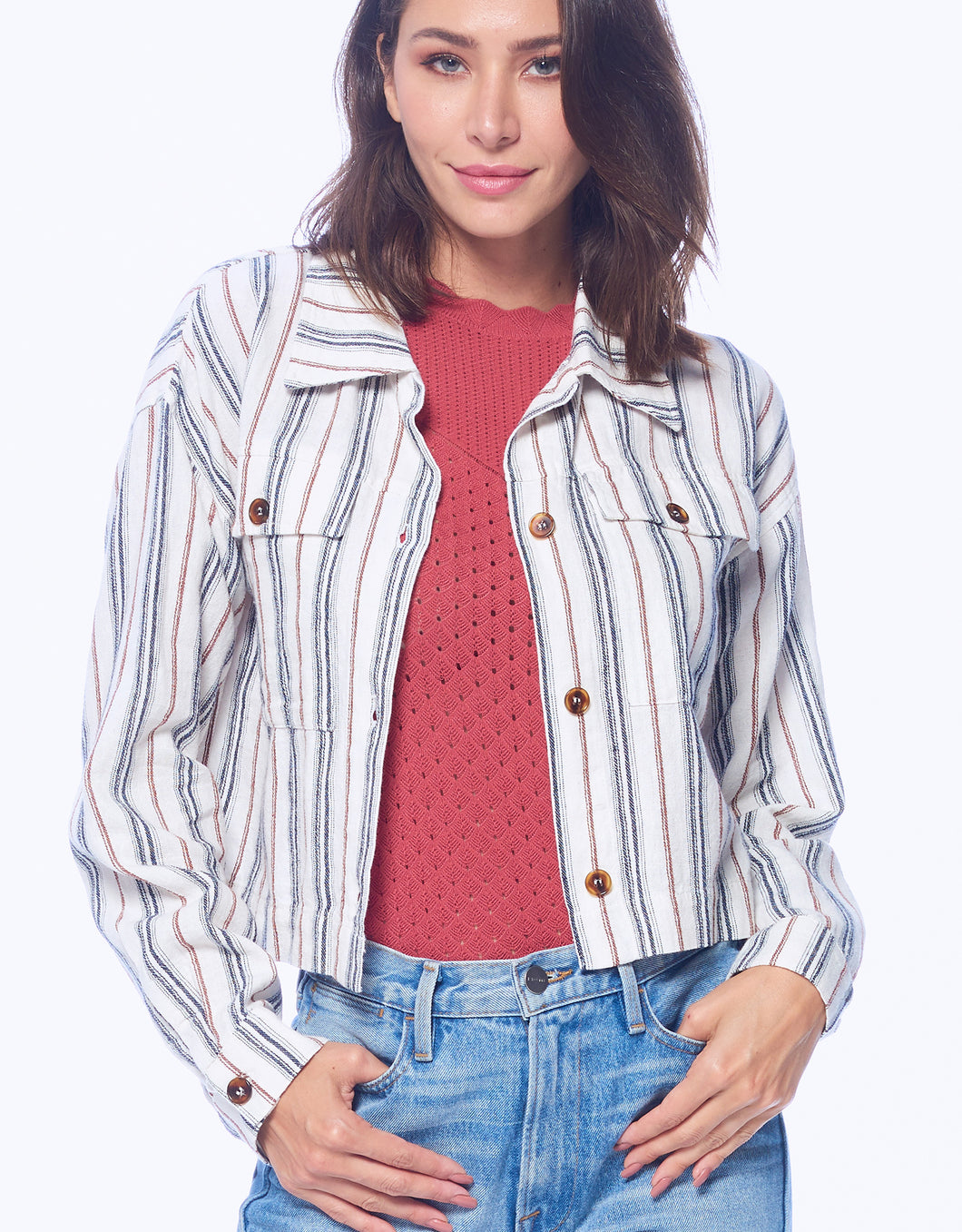 Cropped Stripe Jacket