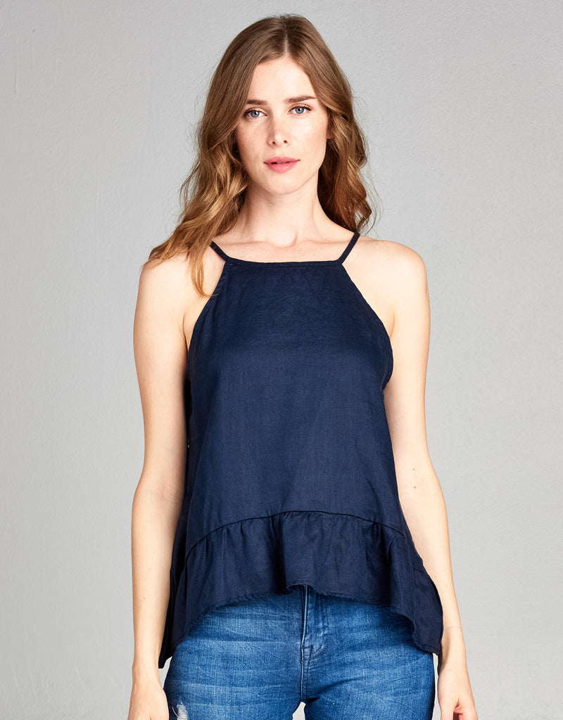 Linen High Neck Tank | Navy - 4our Dreamers