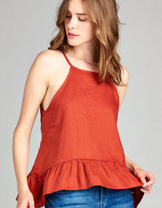 Linen High Neck Tank | Terracotta