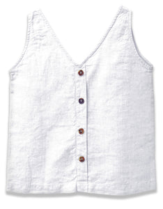 Linen V-Neck Tank | White - 4our Dreamers