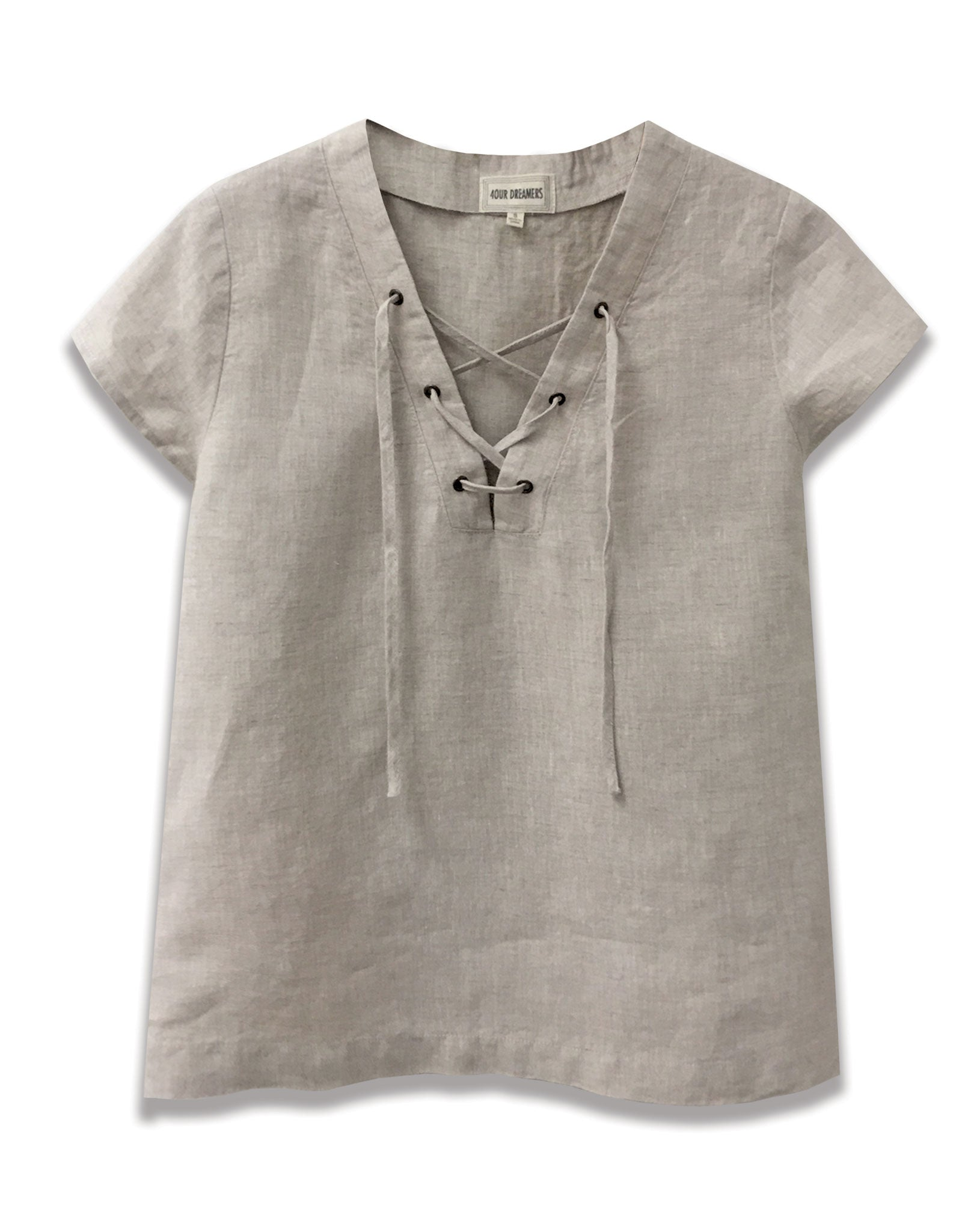 268e052f4a2 ... linen lace up neckline top in natural