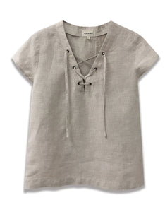 linen lace up neckline top in natural