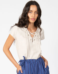 natural linen lace up neckline top