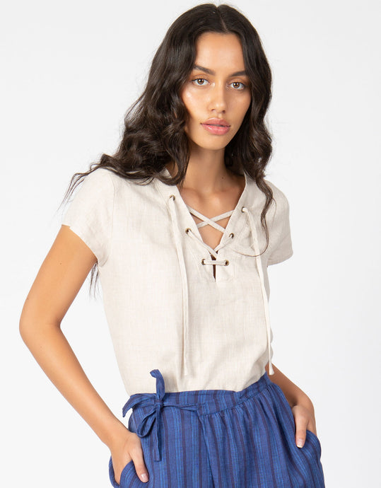 Linen Lace Up Top | Natural - 4our Dreamers