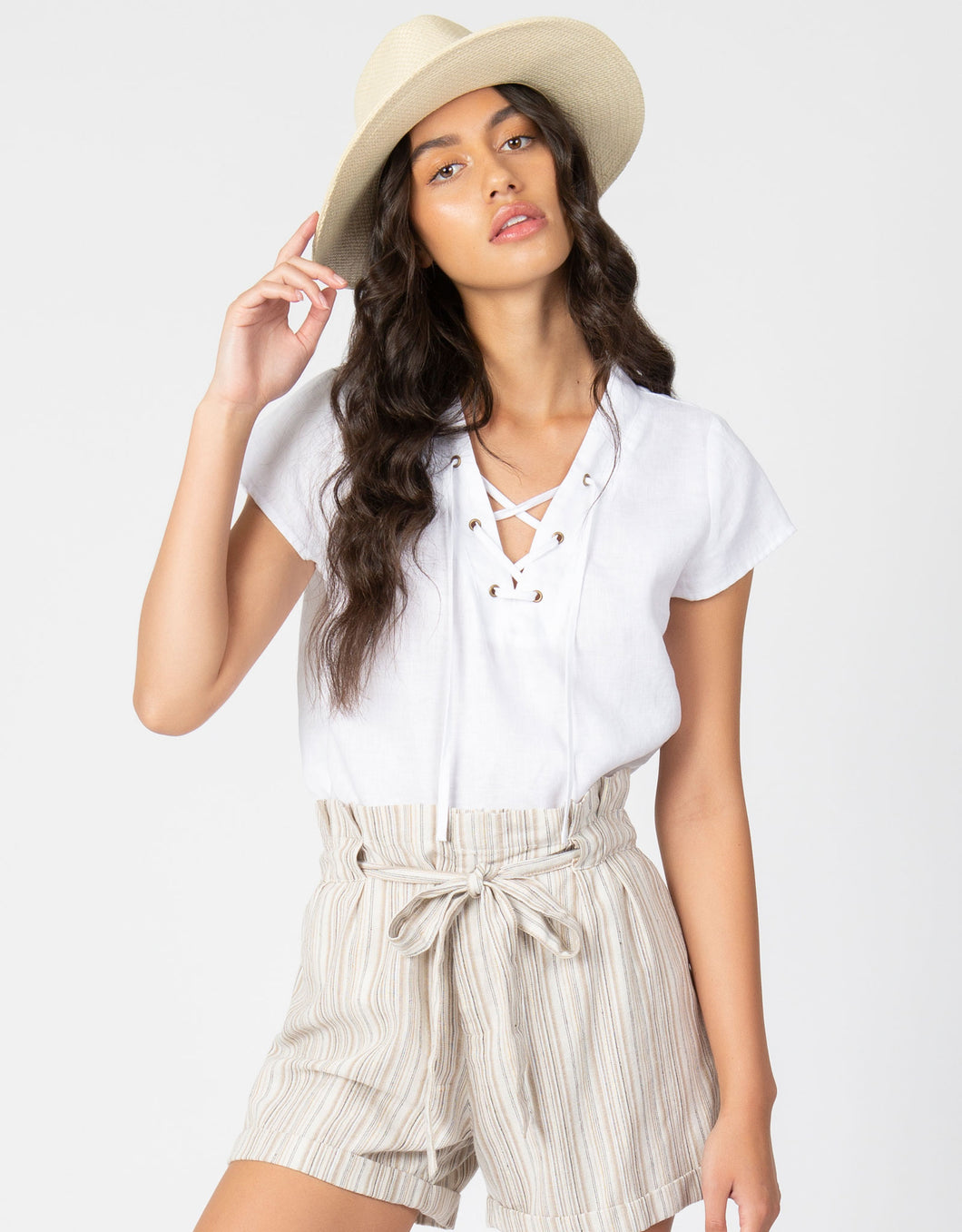 Linen Lace Up Top | White - 4our Dreamers