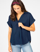 Short Sleeve Linen Popover Top | Navy
