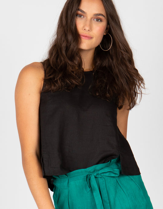 Button Back Linen Tank | Black