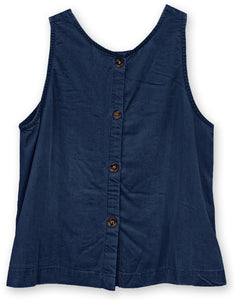 Button Back Linen Tank | Navy
