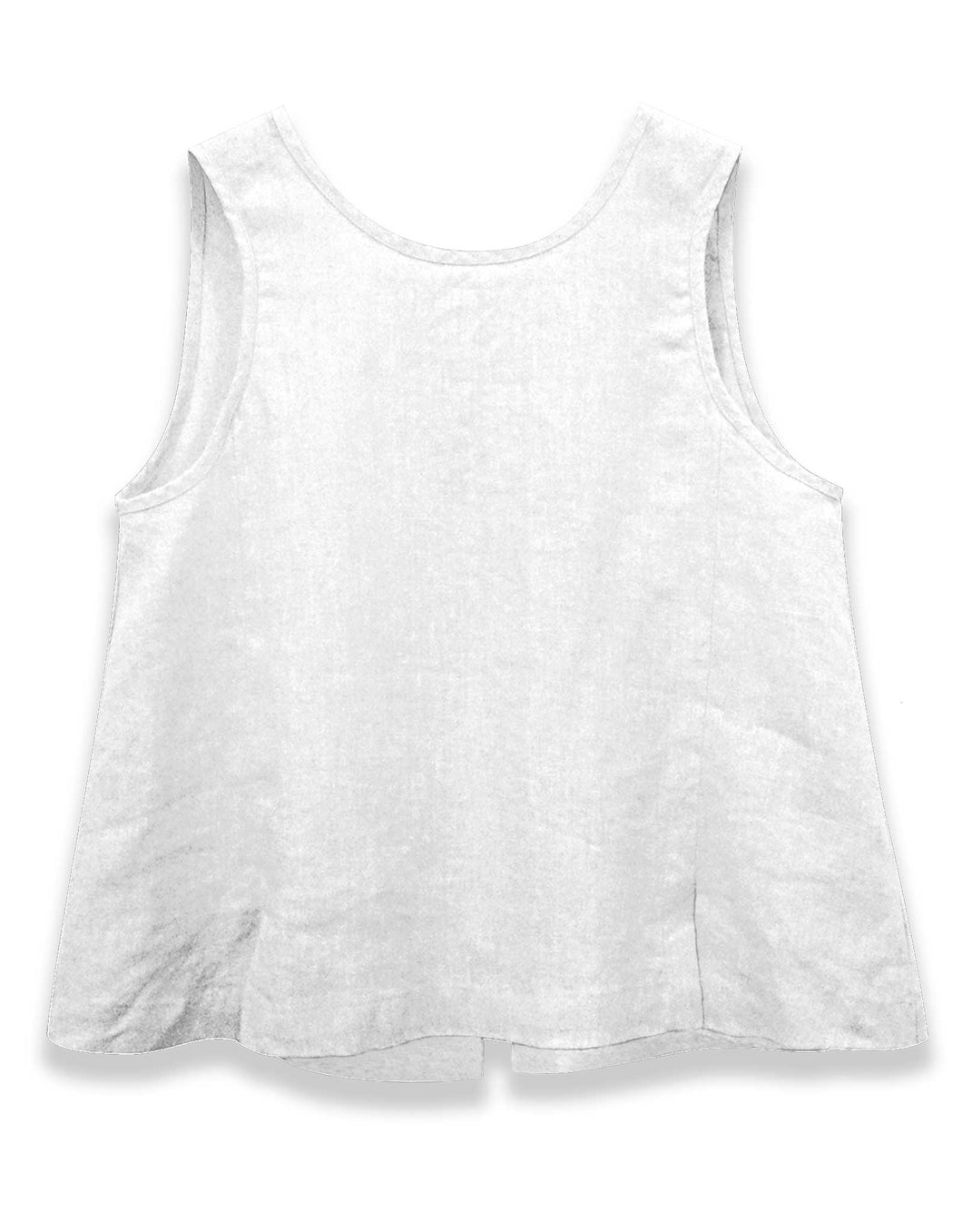 Button Back Linen Tank | White
