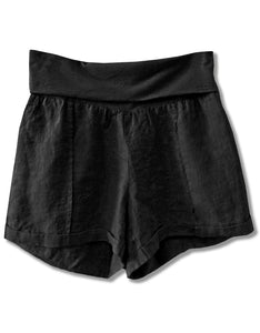 Linen Fold Over Waist Short | Black - 4our Dreamers