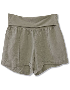 Linen Fold Over Waist Short | Olive - 4OUR Dreamers
