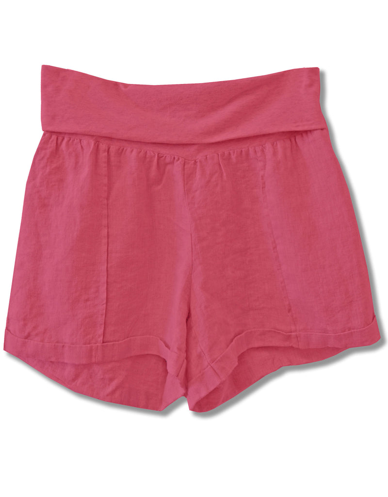 Linen Fold Over Waist Short | Pink - 4our Dreamers