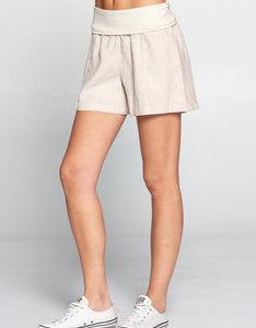 Linen Fold Over Waist Short | Natural