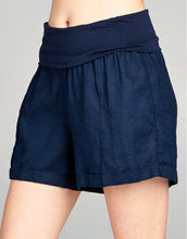 Linen Fold Over Waist Short | Navy - 4our Dreamers