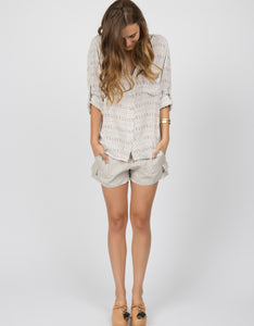 Linen Drawstring Cargo Shorts | Natural - 4our Dreamers