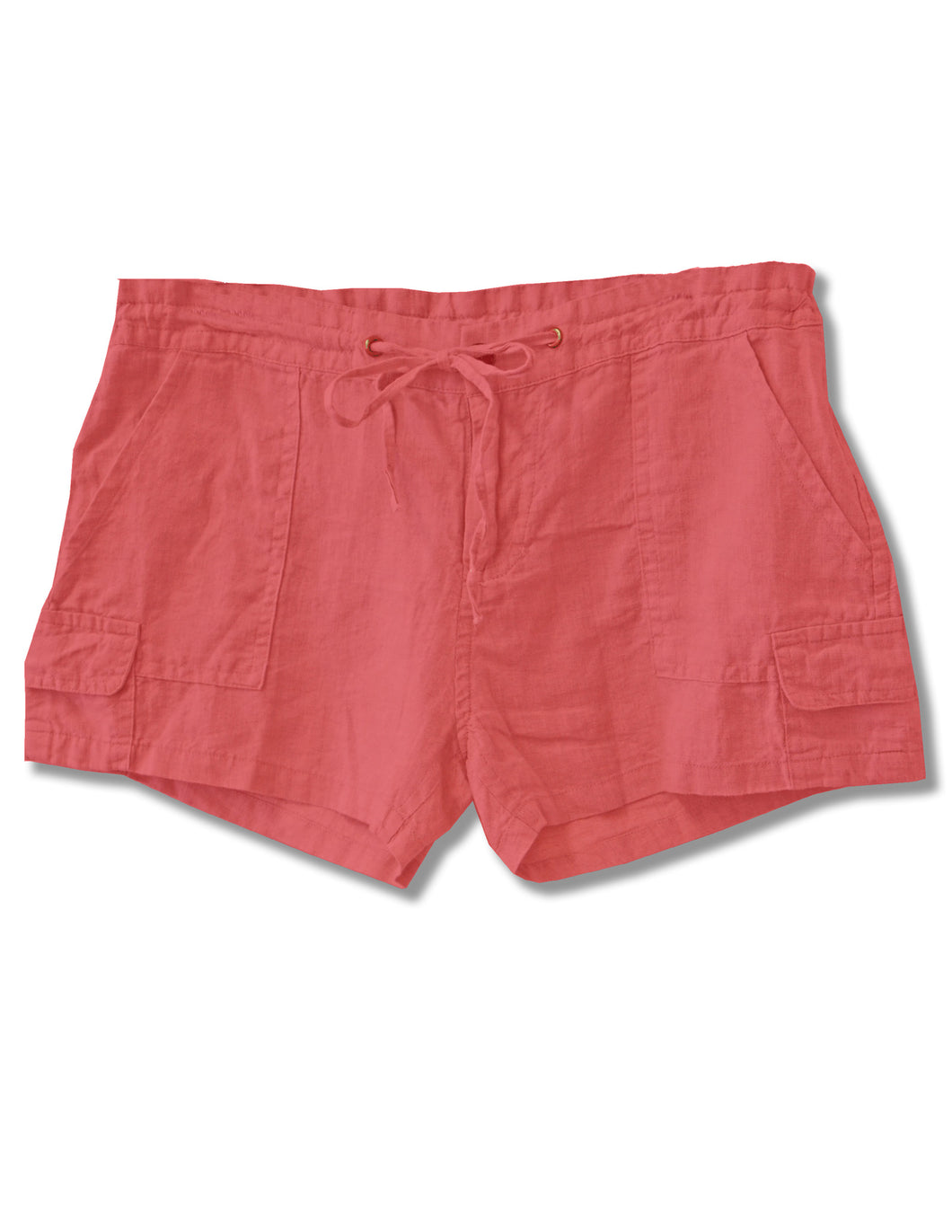 Linen Drawstring Cargo Shorts | Coral - 4our Dreamers