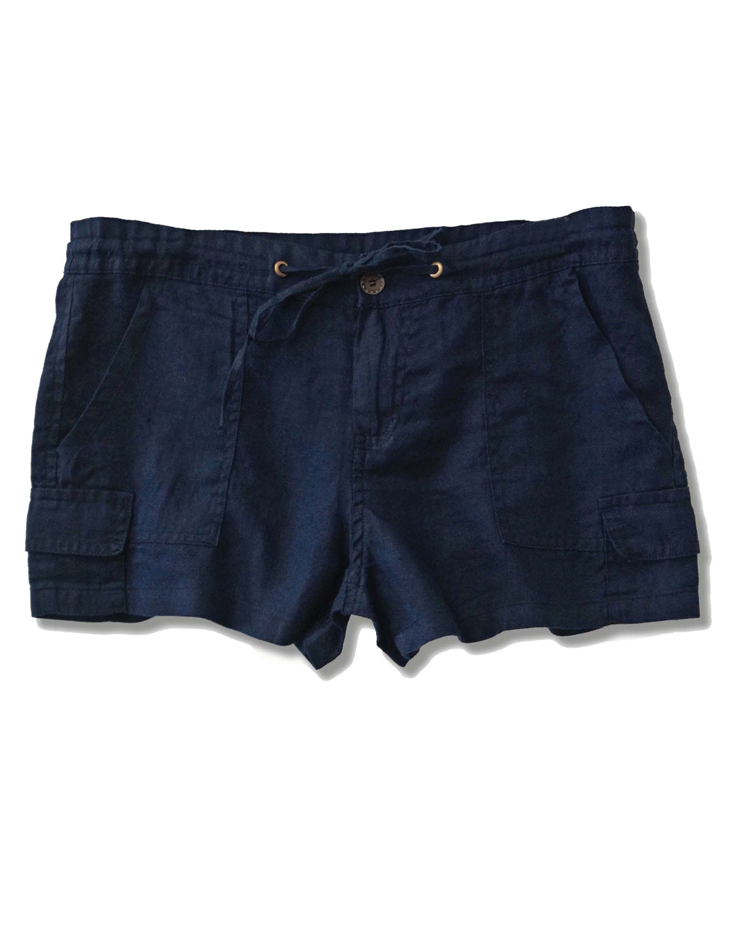 Linen Drawstring Cargo Shorts | Navy - 4our Dreamers
