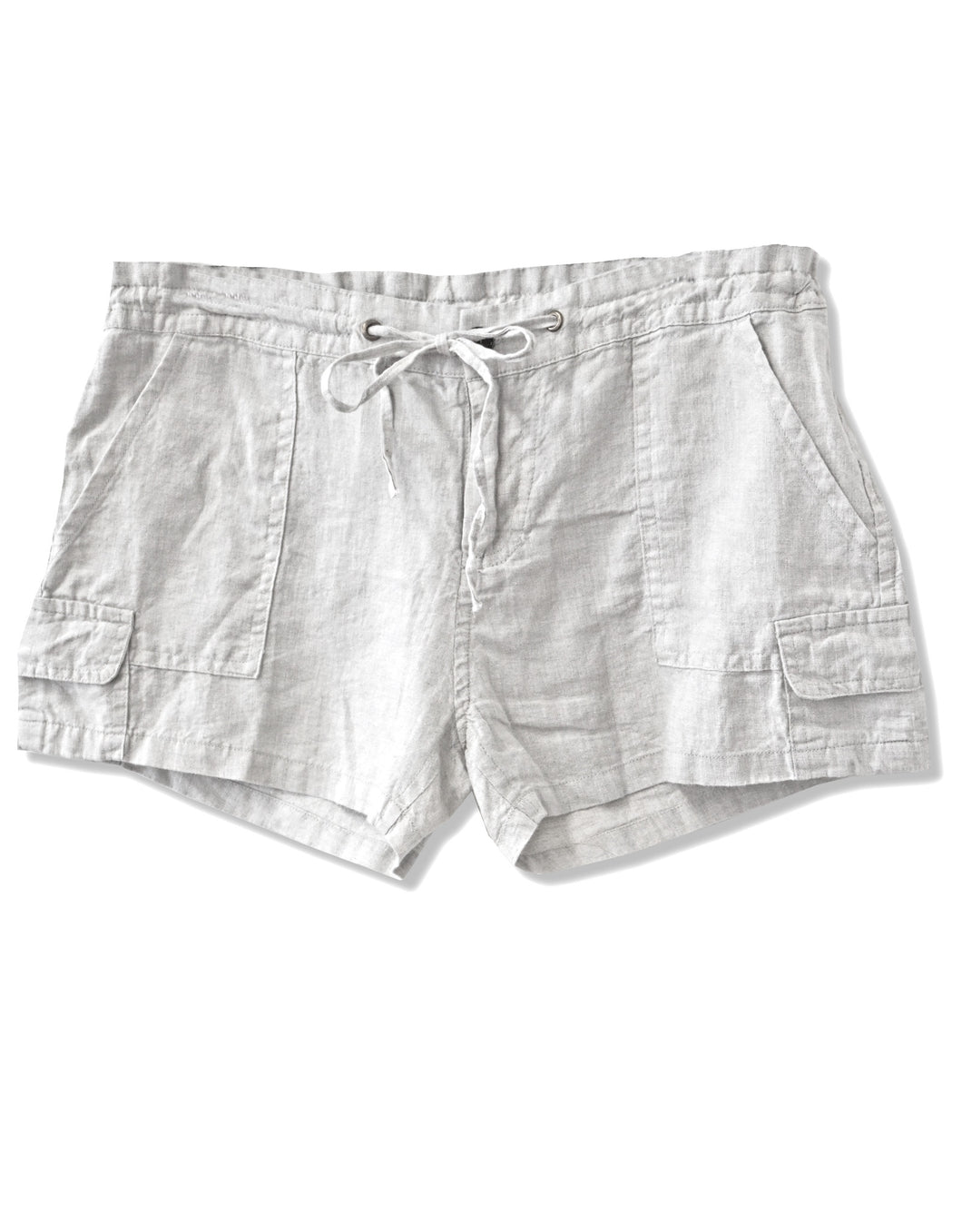 Linen Drawstring Cargo Shorts | White - 4our Dreamers