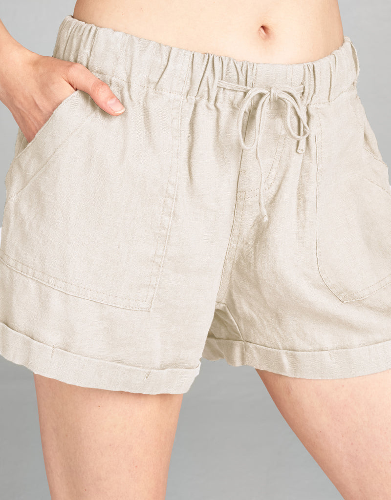 Linen Drawstring Short | Natural - 4our Dreamers
